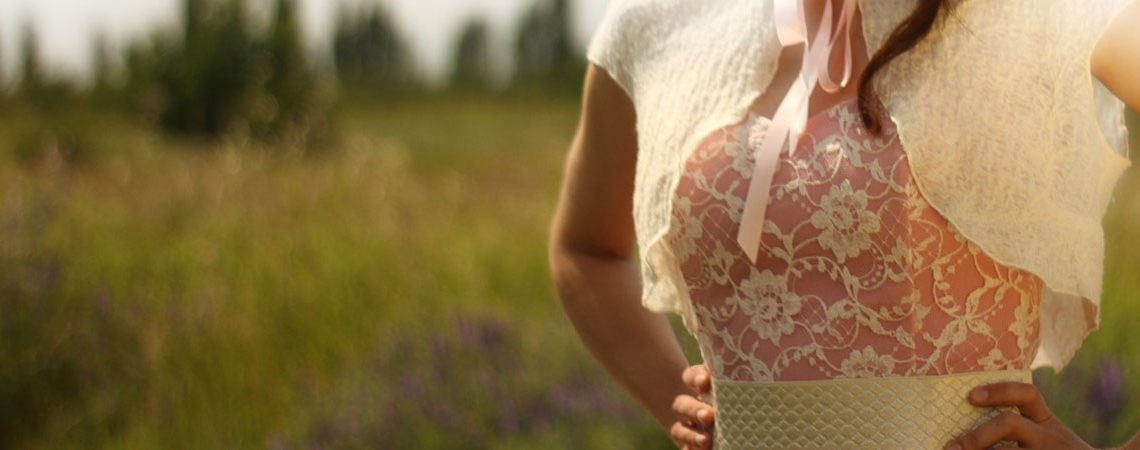50er Jahre Outfit: Kleid rosa Spitze Detail