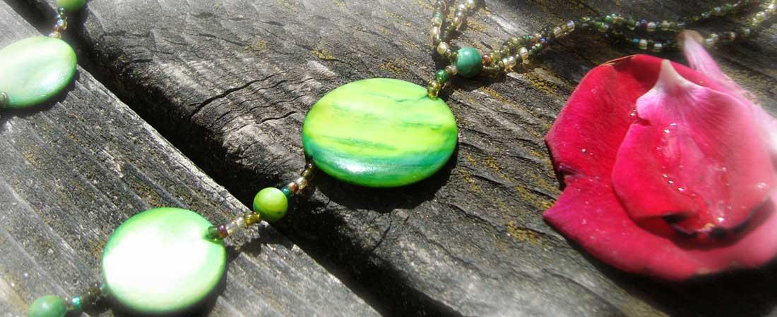 Fußschmuck grün Perlmutt
